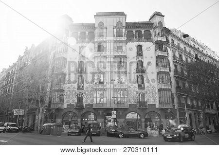 Barcelona, Spain - March 30, 2016: Casa Llopis Bofill Building On Street Corner. Modernist Residence
