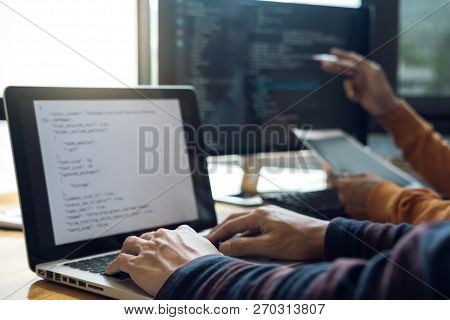 Professional Development Programmer Cooperating Meeting And Brainstorming And Programming Website Wo