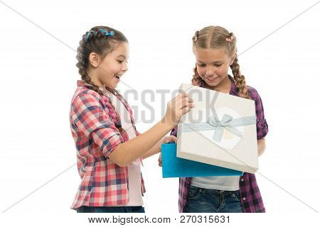 Kids Little Girls With Braids Hairstyle Hold Gift Box. Children Excited About Unpacking Gift. Small