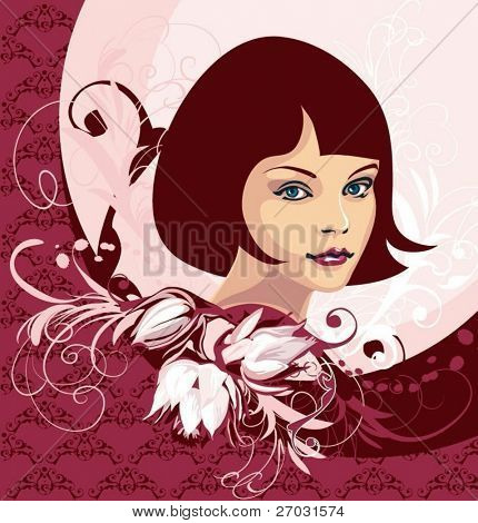 pretty young girl face and floral elements