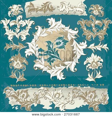 set of flourishes decor elements