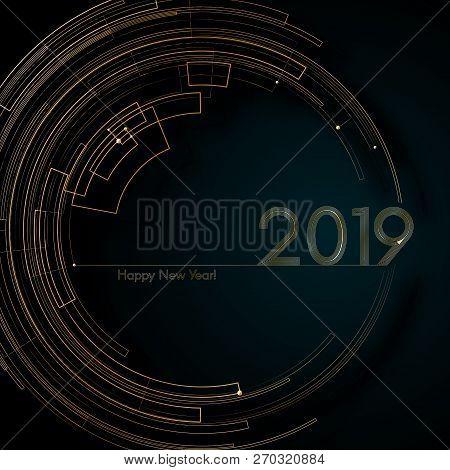Circle Gold Futuristic Lines 2019 New Year Blue Background Modern Creative Design Element Luxury Fut