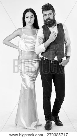 Bearded Hipster With Bride Dressed Up For Wedding Ceremony. Couple In Love, Bride And Groom In Elega