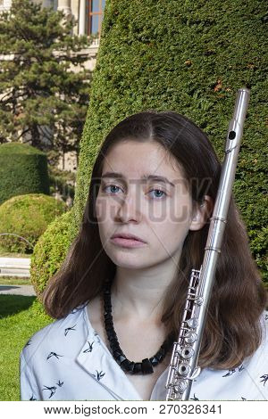 The Musician Flutist Girl Flute Player Close-up