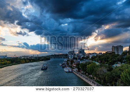 Panorama Of Rostov-on-don, Russia And River Don With Cloudy Sky