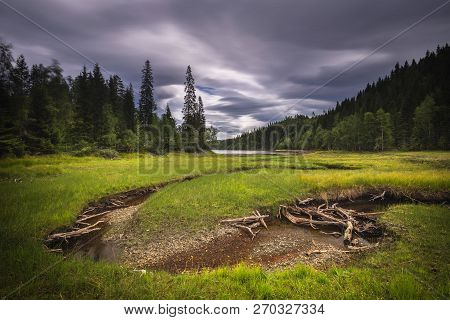 Beautiful Area Of Foldsjoen Lake Near Hommelvik. Boreal Lake, Forests And Rivers.
