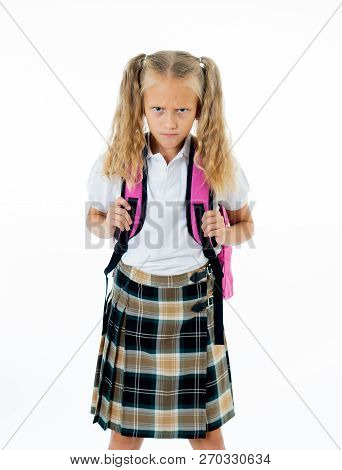 Cute Unhappy Schoolgirl With Backpack Feeling Angry And Frustrated