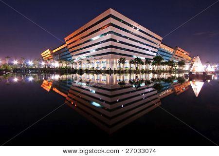 BANGKOK, THAILAND-SEP 25: Landscape of Government Complex Building shines at Dusk on Sep 25,2010 in Bangkok. Government Complex has 34 government units located at Chaeng Wattana Street in Bangkok.