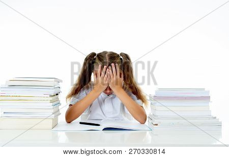 Sad Unhappy Cute Little Girl Overwhelm With Homework And Studies