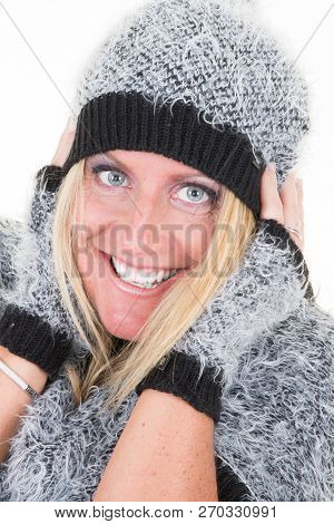 Beautiful Middle Age Woman Wearing Winter Sweater And Hat Over Isolated Background Hands On The Ears