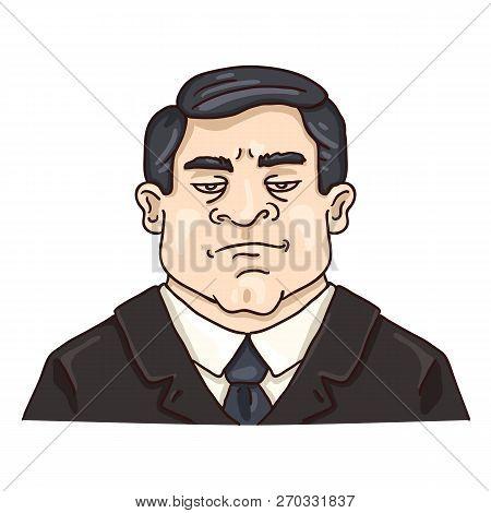 Vector Cartoon Business Avatar - Stern White Man In Black Suit.