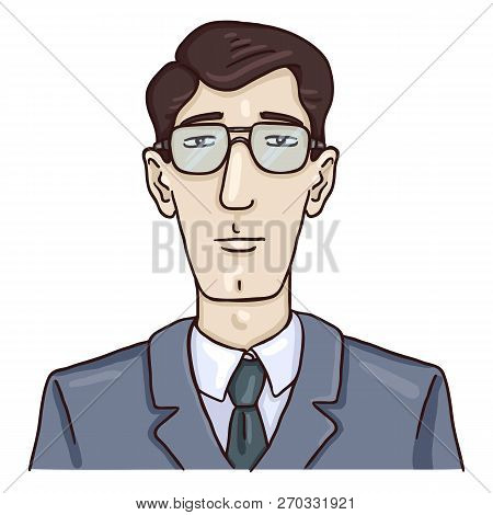 Vector Cartoon Business Avatar - Young White Man In Gray Suit.