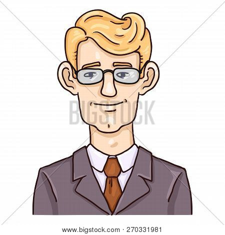 Vector Cartoon Business Avatar - Blond Hair Young Man In Suit And Glasses.