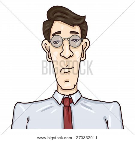 Vector Cartoon Business Avatar - Black Hair Young Man In Glasses And Necktie. Man Male Character Por
