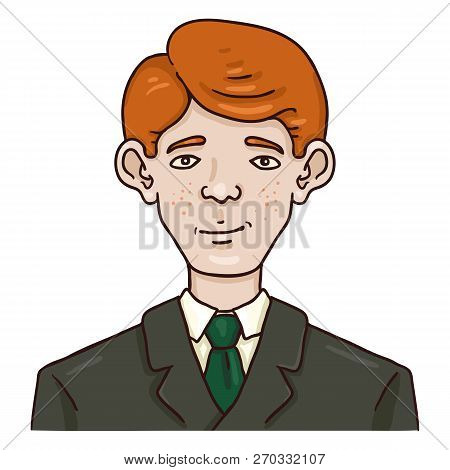 Vector Cartoon Business Avatar - Redhead White Man In Suit.