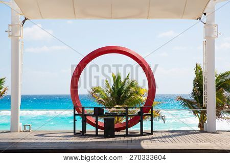 Mexico, Cancun - February 15, 2018: Ocean View And Cancun Beach Dj Desk. Stage For The Beach Parties
