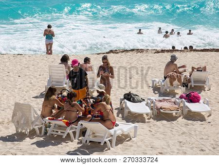 Mexico, Cancun - February 15, 2018:  People Relaxing And Sunbathing On The Beach. Cancun   Grand Pyr