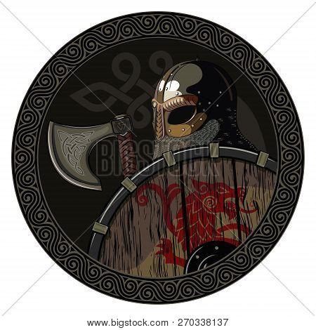 Warrior Barbarian Viking Berserker With Axe And Shield