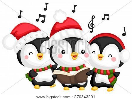 A Vector Of A Choir Of Penguin Singing