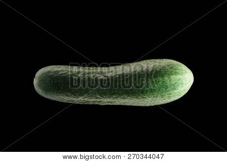 Green cucumber on dark background, isolated on black.