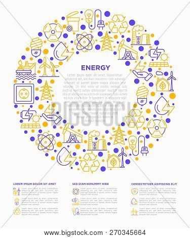 Energy Concept In Circle With Thin Line Icons: Factory, Oil Platform, Hydropower, Wind Energy, Power