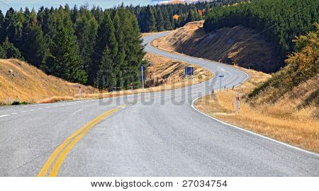 Long Highway road stretching out in New Zealand