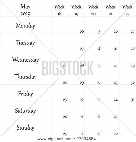 May 2019 Planner With Number For Each Weak