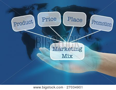 man hand hold business marketing mix concept with world map background