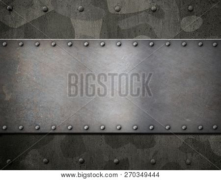 military metal armor background with camouflage