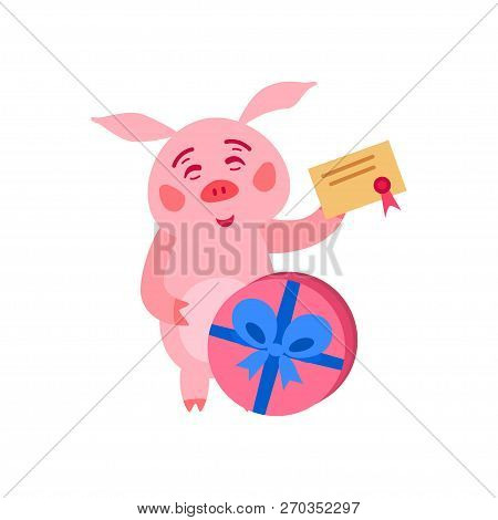 Merry Christmas Pig With Gift Boxes. Vector