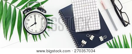 Top View Flat Lay Office Workspace Desk Styled Design Office Supplies Alarm Clock Tropical Palm Leav