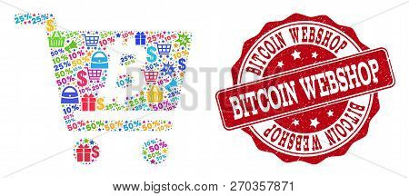 Trading Collage Of Bitcoin Webshop Mosaic And Grunge Seal. Mosaic Bitcoin Webshop Collage Is Designe