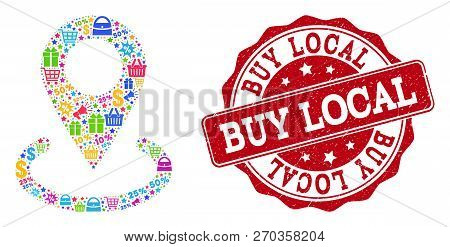 Trading Collage Of Buy Local Marker Mosaic And Grunge Stamp Seal. Mosaic Buy Local Marker Collage Is