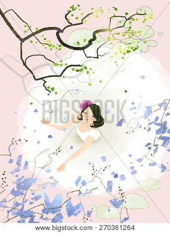 Flowers from tree are falling on bride body