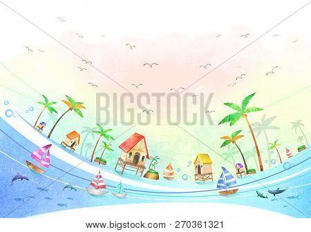 Beach powder and palm trees