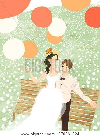 High angle view of newlywed couple sitting on garden bench