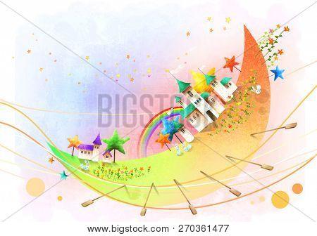 Palace on moon shape boat