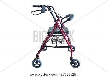 Four Wheel Walker Rollator With Hand Brakes And Fold Up Back Support Isolated On White Background (