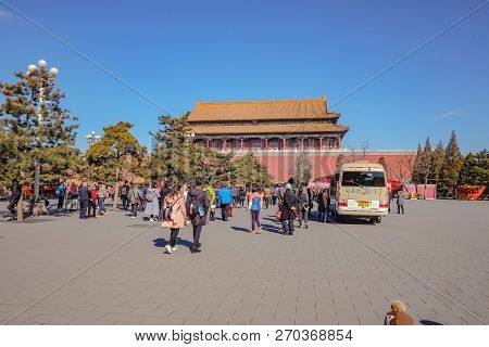Beijing/china - 25 February 2017:forbidden Palace With Unacquainted Chinese People Or Touristin And