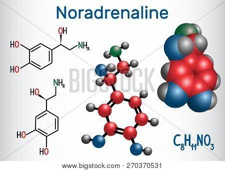 Noradrenaline (na, Norepinephrine , Ne )  Molecule .  It Is A Hormone And Neurotransmitter. Structur