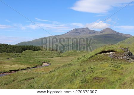 Scenic Summer View Of Ben More Mountain From Glen More, On The Picturesque Island Of Mull In Scotlan