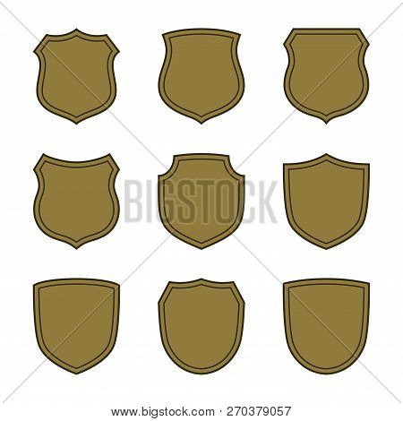 Shield Shape Bronze Icons Set. Simple Flat Logo On White Background. Symbol Of Security, Protection,
