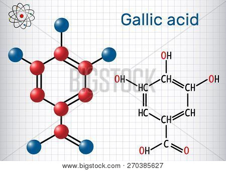 Gallic Acid (trihydroxybenzoic Acid) Molecule, Is Phenolic Acid. Sheet Of Paper In A Cage. Structura