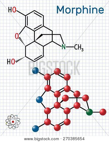 Morphine Molecule. It Is A Pain Medication Of The Opiate. Structural Chemical Formula And Molecule M
