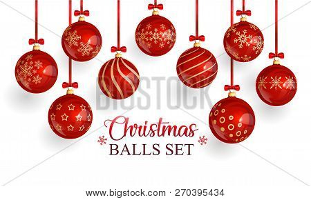 Red Glass Christmas Balls With Christmas Ornament And Red Bows