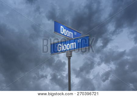 A 3d Illustration Of Two Blue Street Signs Reading Doom And Gloom Set Against An Ominous, Cloudy Sky