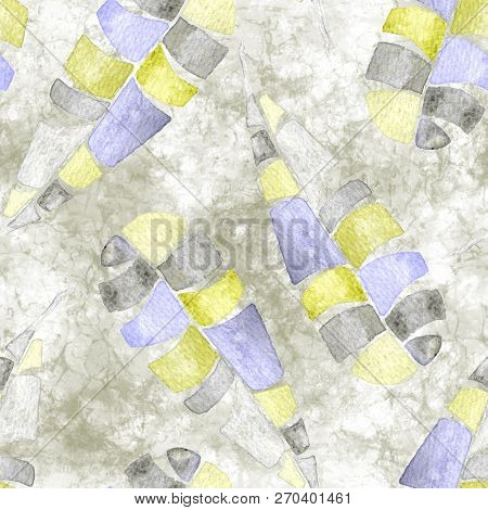 Tropical Seamless Pattern. Watercolor Naive Palm Leaves, Japanese Bamboo. Yellow Exotic Swimwear Des