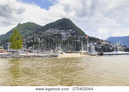 Lugano, Switzerland - May 12, 2018: Monte Brè Is A 925 M Mountain Located In The East Of Lugano In T