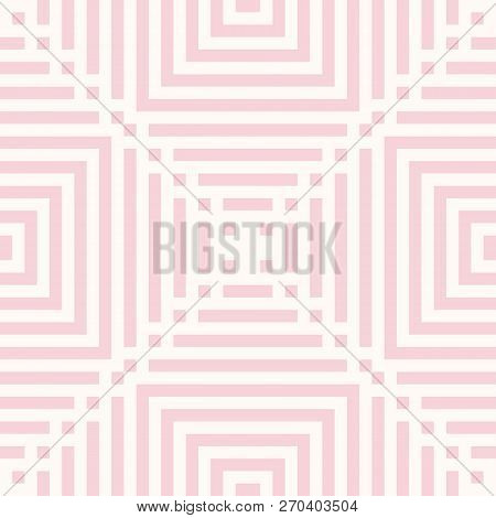 Pink Vector Geometric Lines Seamless Pattern. Abstract Graphic Ornament With Stripes, Squares, Repea