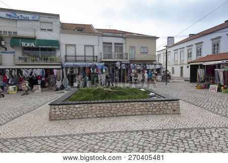 Nazare, Portugal, June 13, 2018: Sales Of Regional Products On The Square In The Seaside Tourist Tow
